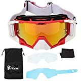 Tbest Gafas de Seguridad,Gafas de Moto Gafas Protectoras Ajustable Gafas de Motocross de Moda Protección de los Ojos Gafas de Antiviento para Moto Motocross Esqui Deporte(rojo blanco)