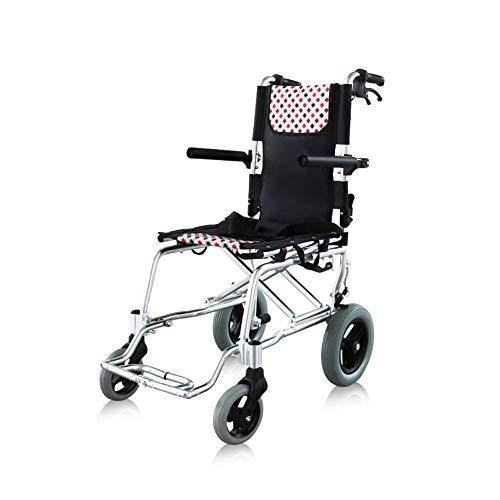 Y-L Ouderen Gehandicapten Titanium Aluminium Lichtgewicht en Opvouwbaar Frame, Attendantpropelled Rolstoel, Draagbare Transit Travel Chair, Weegt slechts 8,5 Kg