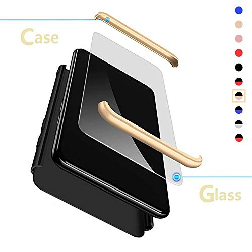 XJZ Compatible para OPPO Realme X2 Pro/Reno Ace Funda(2019)+3D Vidrio Templado Protector de Pantalla/Caja Ultra Fina Silicona Caso Bumper 360° Protectora Cojín Carcasa para Realme X2 Pro-Negro+Oro