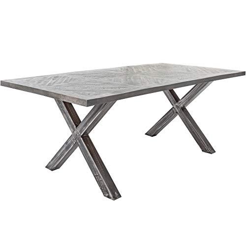 Massiver Esstisch Infinity Home 160cm grau Mangoholz Industrial Design Massivholz Tisch Holztisch Konferenztisch