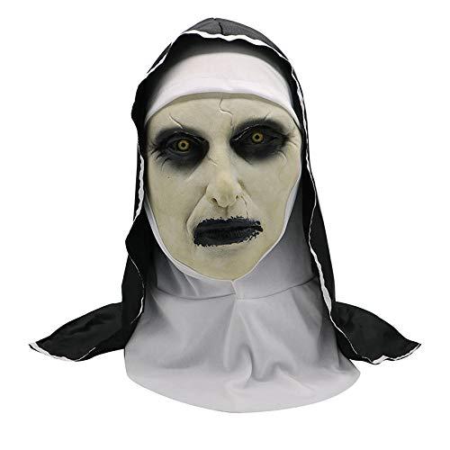 wnddm Costume da Orrore Maschera di Suora Abiti di Halloween Spaventoso Zombie Fantasma Costume Costumi di Halloween per Donne Demone Raccapricciante Suora Puntelli per Feste@Bianca_Taglia Unica