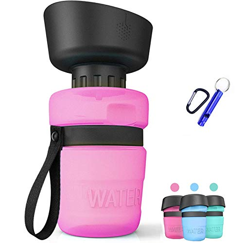 ZONSUSE Tragbare Haustier Wasserflasche, 520ml Hunde Wasserflasche, Hundetrinkflasche für unterwegs, BPA Frei, für Camping, Spaziergang, Wandern, (Rosa)