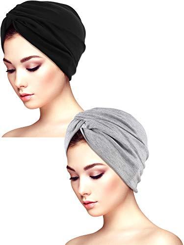 Sombreros de Turbante Suaves para Dormir de 2 Piezas Sombrero Turbante Estampado Sombrero del Sueño Gorro para la Mujer (Conjunto de Colores 2)