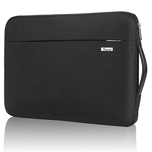 Voova 360° Protective Laptop Sleeve Case 14-15.6 inch, Waterproof Computer Cover Bag with Organizer Pocket Compatible New 16' MacBook Pro, 15' Surface Book 3 2, Asus Acer Dell Hp Chormebook -Black