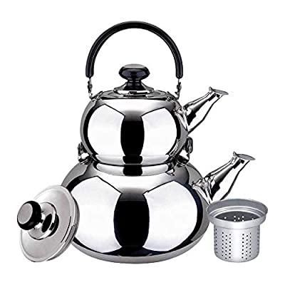 Turkish Double Tea Pot Kettle Water Boiler with Strainer Samovar Style (1 and 3 Liter)