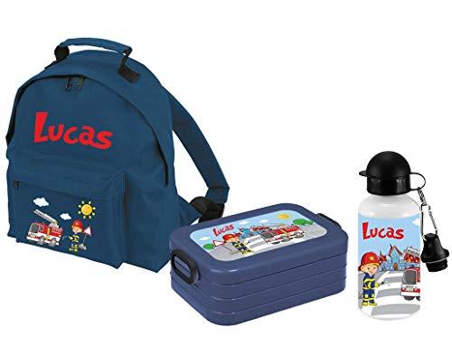 Mein Zwergenland Set 3 Kindergartenrucksack Classic und Brotdose Lunchbox Maxi + Trinkflasche mit Name Feuerwehr, 3-teilig, Navy
