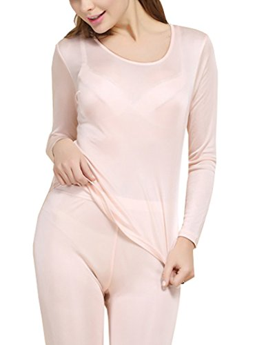 Fashion Silk Women's Thermal Underwear Sets Mulberry Silk Crewneck Long Johns for Women Base Layer (Large, Fleshcolor)