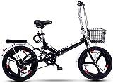 20 Pulgadas Bicicleta Bici Ciudad Plegables Adulto Hombre Mujer, Bicicleta de Montaña Btt MTB Ligero Folding Mountain City Bike Doble Suspension Bicicleta Urbana Portátil, H037ZJ
