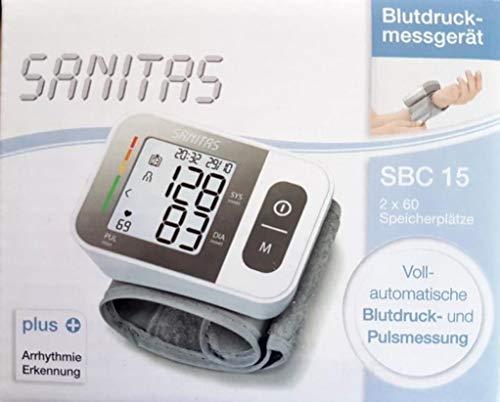 Bltudruckmessgerät Sanitas SBC15 mit 3-Werte-Anzeige (Systole, Diastole, Puls) und Arrhythmie-Erkennung (erkennt und warnt bei eventuellen Herzrhythmusstörungen)