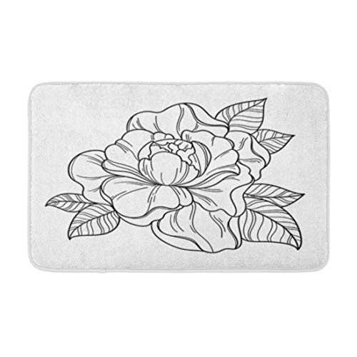 """Adowyee 16""""x24"""" Bath Mat Fantasy Peony Flower Floral Coloring Book Page for Adult Cozy Bathroom Decor Bath Rug with Non Slip Backing"""
