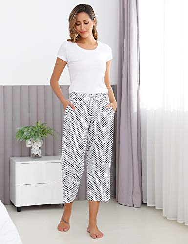 Hawiton Pantalones de Pijama para Mujer Capri Pantalon de Dormir de Algodón con Punto