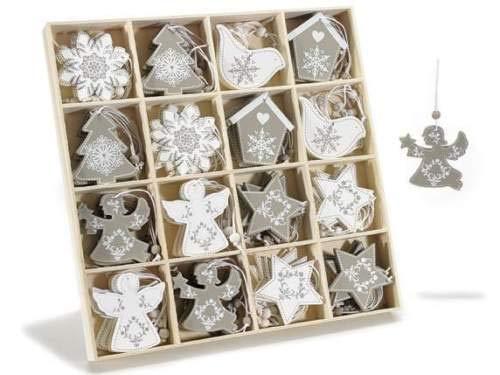 Gruppo Maruccia Decorazioni per Albero di Natale in Legno Shabby Chic Confezione da 64 Pezzi