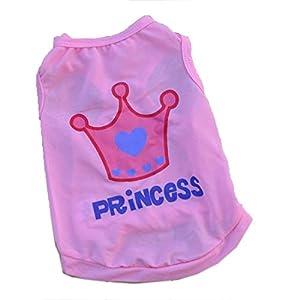 T-shirts pour chien Pet Vêtements Été Couronne de Princesse Rose pour chiot respirant de haute qualité Casual sans manches
