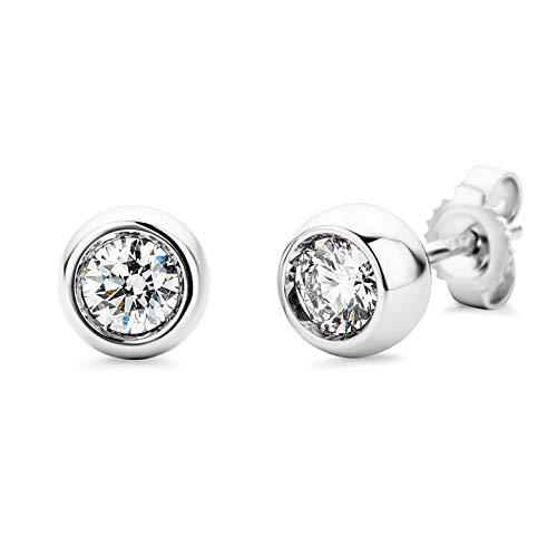 Miore Ohrringe Damen 0.50 Ct Solitär Diamant Ohrstecker aus Weißgold 18 Karat / 750 Gold, Ohrschmuck mit Diamanten Brillanten