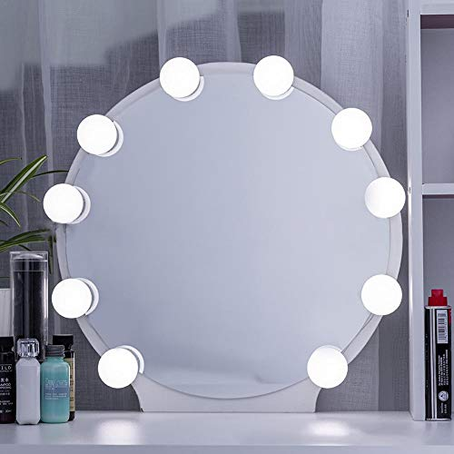 Hollywood Style - Espejo cosmético con 10 bombillas regulables para el maquillaje y la fuente de alimentación Plug in tiras de iluminación, luz de espejo cosmético, color blanco (sin espejo incluido)