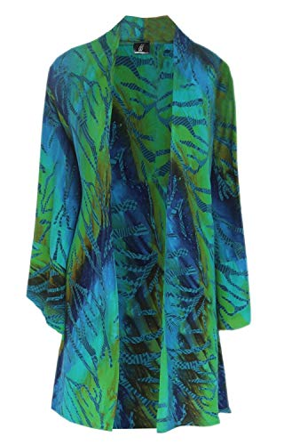 2X 3X 4X Women's Plus Size Cardigan Kimono With Hanky Hemline, Unique Double Batik Fabric, Handmade