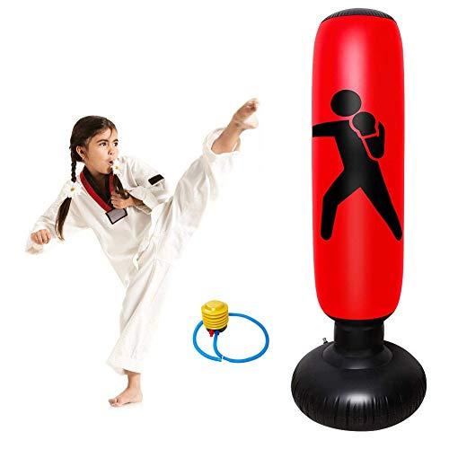 Zware bokszakken, bokszak opblaasbaar met luchtpomp voor kinderen volwassenen 160cm,Red