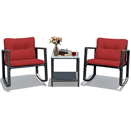 Tangkula 3 PCS Wicker Rocking Bistro Set, Outdoor Rocking Chair Furniture Set w/Cushioned Seat, Conversation Set w/Glass Coffee Table and Storage Shelf (Red)