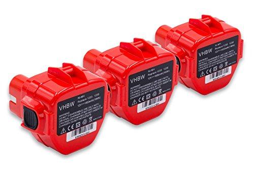 vhbw 3x Batería reemplaza Makita 1220, 1222, 1233, 1234, 1235, 1235F, 1250, 192536-4, 192597-4 para herramientas eléctricas (1500mAh NiMH 12V)