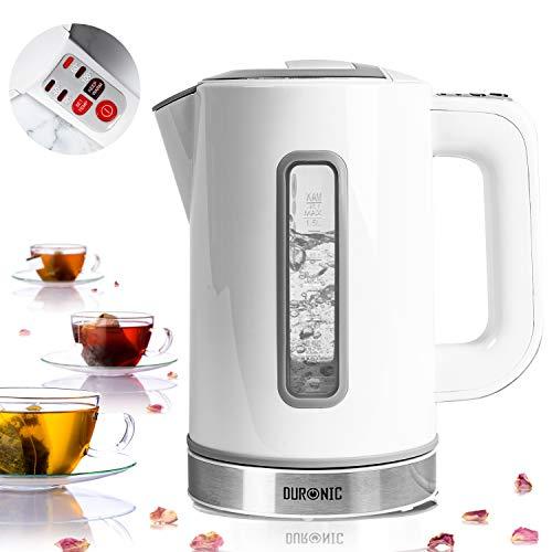 Duronic EK30 We Hervidor de Agua Eléctrico 3000W de 1,5 L - Temperatura Regulable 40° / 60° / 80° / 100° C - Libre de BPA - Filtro Antical - Mantiene el Agua Caliente - Blanco