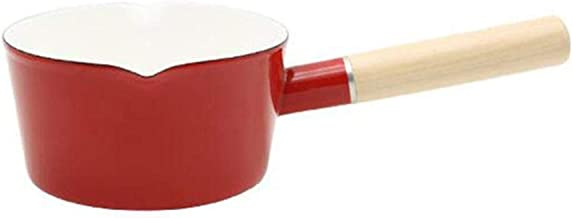 XYXK Japanese Style White Enamel Milk Pot Kitchen Cooking Pan Pot Stewpan Food Saucepan With Long Handle For One People,B ...