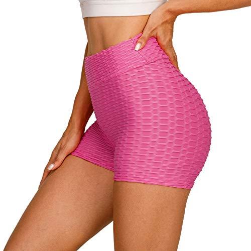 LZJDS Mallas Pantalones Deportivos Leggings Mujer Yoga de Alta Cintura Texturizado Shorts Elásticos y Transpirables para Yoga Running Fitness,9 Colores sólidos,S-XL (2 Piezas),Rosado,Small