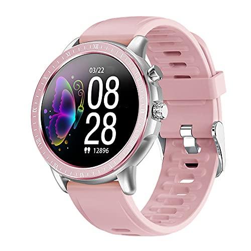 DADAS Smart Watch Men's y Women's Watch 1.3 Pulgadas Pantalla táctil Watch Smart Watch Monitor de frecuencia cardíaca, Pedómetro Actividad Tracker Sleep Monitor,Silver Pink