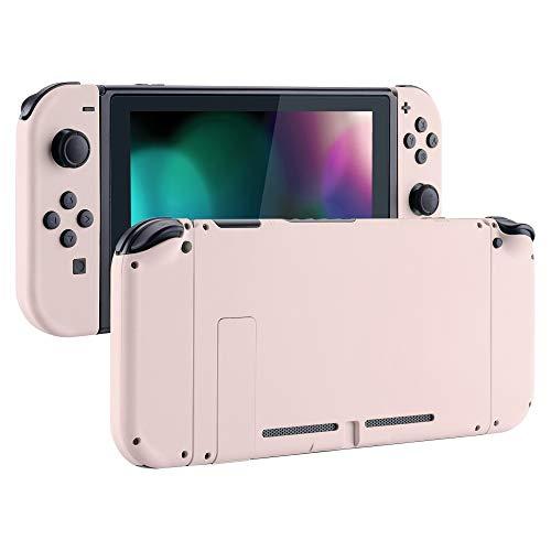 eXtremeRate Cover con Kit di Pulsanti Ricambio per Nintendo Switch,Soft Grip Custodia Posteriore Console Case Guscio Joy-Con Controller DIY Ricambio per Nintendo Switch(Rosa)