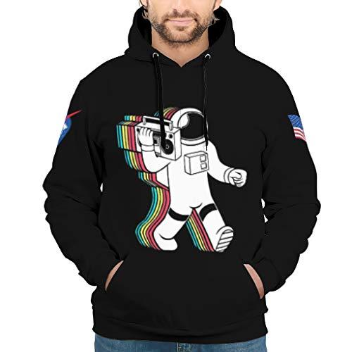 Niersensea Sudadera con capucha para niños y niñas, diseño de astronauta arcoíris, color negro, impresión 3D con bolsillo canguro, color blanco, talla 3XL