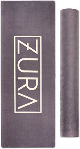 ZURA Mat (Black and Gold) - Eco-Friendly Combo Yoga Mat, Nonslip Grip w/Printed Microfiber - Extra Long - 3.5mm Thick, Soft - 100% Natural Rubber & Non-Toxic, Machine Washable