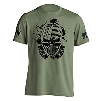 Dion Wear Gas Mask American Survivor Military T-Shirt X-Large Military Green