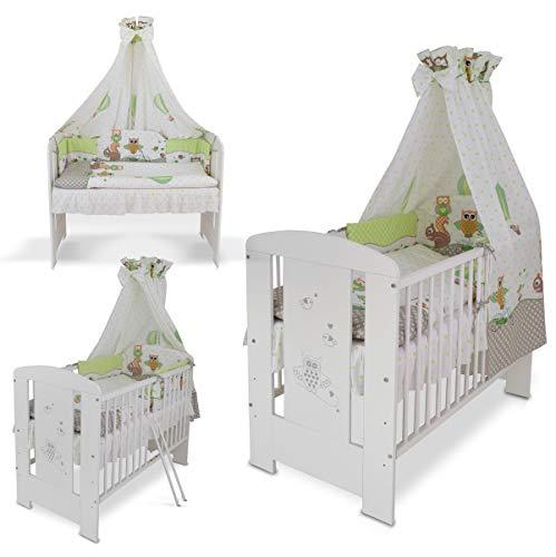 Berceau lit bébé + Matelas + Set de lit complète + Sommier à lattes 120 x 60 cm (hibou vert)