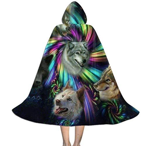 ALLdelete# Niños Capa Capa Espiral Lobo Familia Lobos Divertidos Cabeza de Alaska Disfraces de Halloween 118x39cm