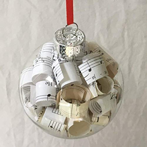 Sheet Music Glass Christmas Tree Ornament