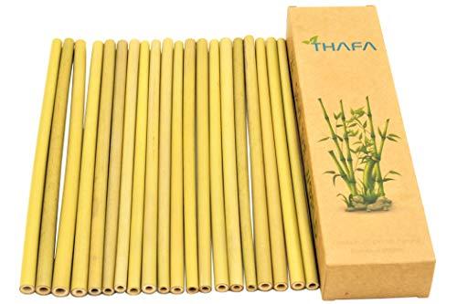 20 pajitas de bambú 100% biodegradables de madera de bambú natural, pajitas lavables y reutilizables para cócteles y todo tipo de bebidas, alternativa al plástico sin BPA, compostables, vegano