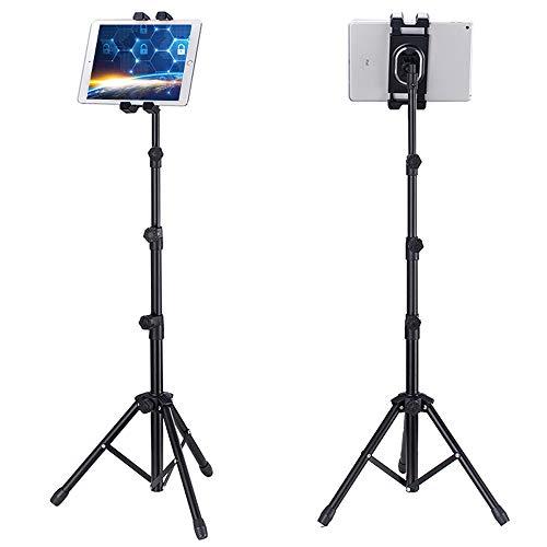 ACTNOW Soporte de Trípode para Tableta Portátil Universal Altura Ajustable Placa Giratoria de 360° con Adaptador de Soporte para Tabletas de 5' a 12' + Bolsa de Transporte