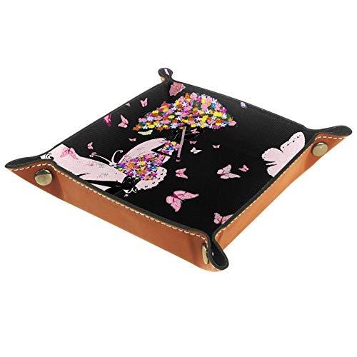 Caja de almacenamiento pequeña, bandeja de valet para hombre,Paraguas niña mariposa,Organizador de cuero para llaves de caja de monedas