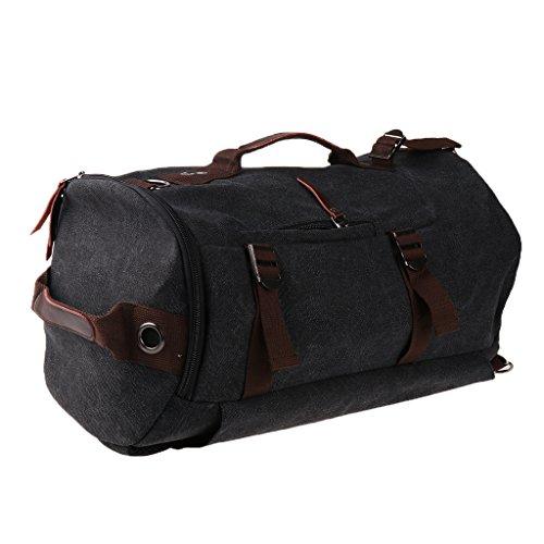 MagiDeal Sac à Dos Portable Toile Bandoulière Unisex Alpinisme Randonnée Camping Tissu Durable - Noir, comme décrit
