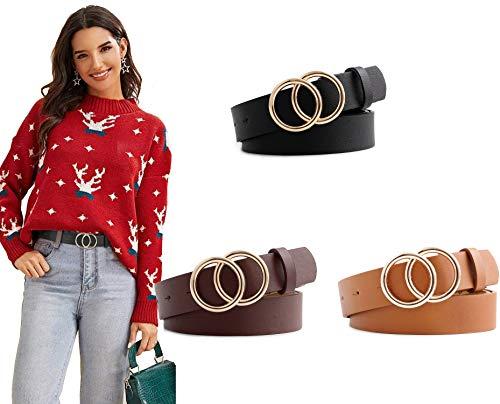 Longwu [3 PCS] Cinturón de cuero PU para mujer, doble anillo en O, cinturones de cintura de cuero sintético suave, para pantalones vaqueros de vestir, cinturones para niñas, damas