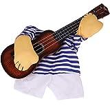 Romote 1 Pc Pet Gitarre Kostüm Hundekostüm Lustiges Katzen-Kleidung Hunde Katzen Super Funny Verrückte Guitarist-Art-Haustier-Kleidung Halloween-weihnachtsparty Cosplay Zubehör Tierzubehör (XL)