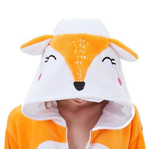 ABENCA Kids Fleece Onesie Pajamas Christmas Halloween Animal Cosplay Sleepwear Costume,Fox,130 Yellow
