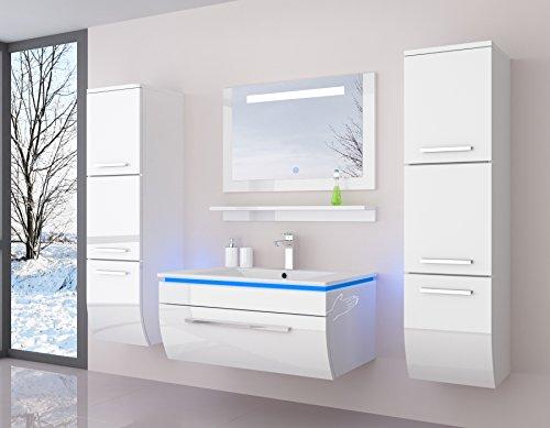 Atlantis Badmöbel Set Komplett Weiß Hochglanz lackiert Fronten Spiegel mit Beleuchtung mit Waschbecken 90 cm mit Zwei Hängeschränken