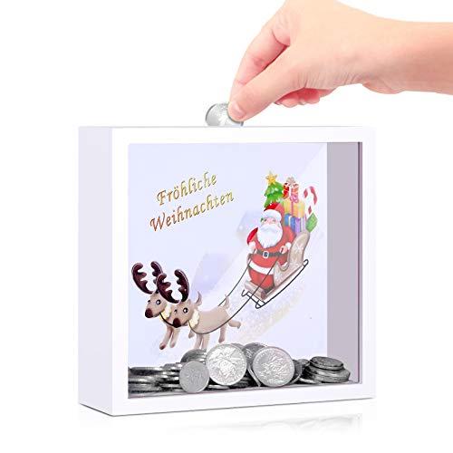 LISOPO Bilderrahmen Spardose Weihnachtsmann 3D Bilderrahmen befüllen für Weihnachten Geburtstagsgeschenk Bilderrahmen Deko Deko als Geldgeschenk & Weihnachtsmann Deko 16,5x16,5x5cm