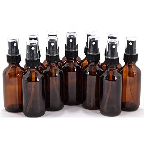 Lot de 12 flacons en verre ambré avec vaporisateurs fins noirs 56,7 g