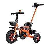 GCXLFJ Triciclo Bebe Triciclo 2 en 1 for niños con triciclos Bicicletas Bell, Altura Ajustable de la Mano de Empuje Polo de 1-6 años Niño Niña, Blueb (Color : Orangea)