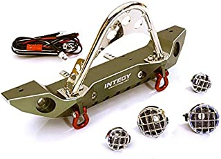 Integy RC Model Hop-ups C27656GUN Realistic Alloy Machined Scale Front Bumper w/LED Lights for Axial 1/10 SCX10 II