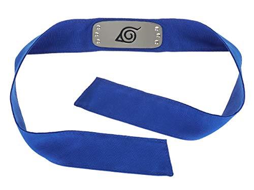 CoolChange Naruto Ninja Stirnschutz, Konoha Stirnband, Blaues Stoffband, Metallplatte mit Konohagakure Wappen