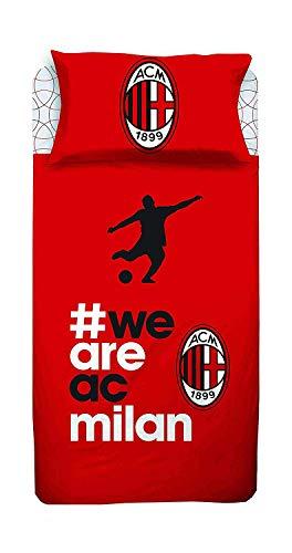 Milan Completo Lenzuola Letto Singolo 1 Una Piazza Ufficiale A.C Rosso Nero 100% Cotone