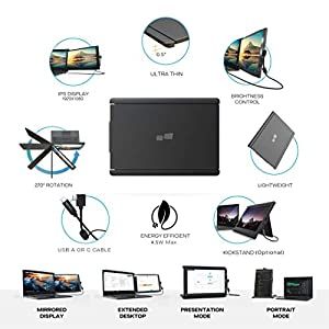 """Duex Pro Portable Monitor (Upgraded 2.0 Version), The On-The-Go Dual-Screen Laptop Monitor, 12.5"""" Full HD IPS Display, USB A/Type-C, Plug and Play, Dual-Side Sliding, Sleek and Lightweight Design"""