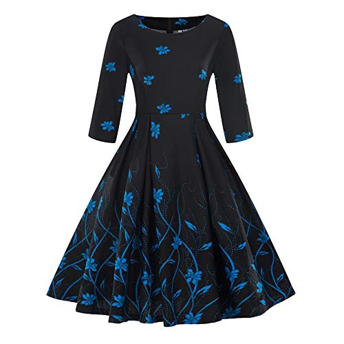 showsing-vrouwen kleding Womens Plus Size 3/4 mouw Jurk Mode Dames O-hals Vintage Bloemen Print Swing Jurk Party Avond Jurk Maat 8-20